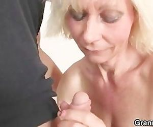 Mature blonde takes it..