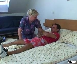 Old granny is banged by..