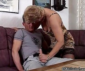 Horny blonde granny in..