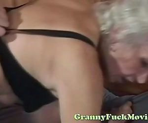 Blonde granny rough..