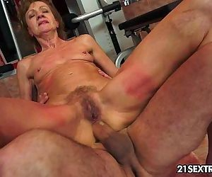 Grandma rides on a huge..
