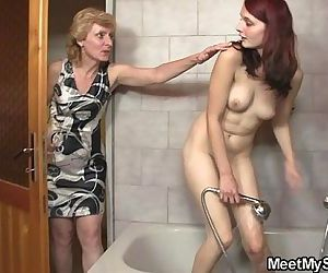 His mom licks her cunt..