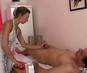 Granny masseuse gets..