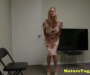 Bigtitted milf tugging..