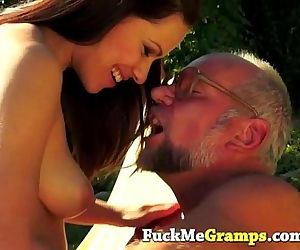 Hairy old man getting a..