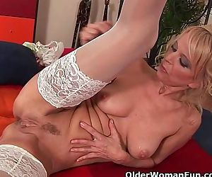 Hot granny gives her..