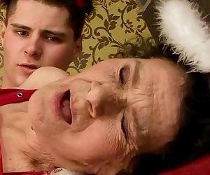 Granny in lingerie