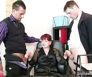 Office lady pleases two..