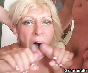 Two guys drill her old..