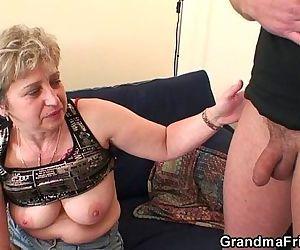 Nasty granny toying..