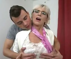Horny granny with saggy..