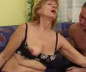 Mature woman enjoys a..