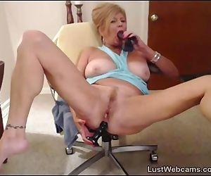 Blonde granny fucks her..